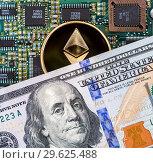 Купить «Cryptocurrency Ethereum, electronic computer component and american dollar», фото № 29625488, снято 20 января 2018 г. (c) FotograFF / Фотобанк Лори