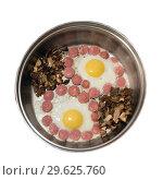 Купить «Fried eggs with sausage and mushrooms in a skillet», фото № 29625760, снято 22 ноября 2014 г. (c) Акиньшин Владимир / Фотобанк Лори