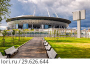 Купить «Saint Petersburg Arena football stadium on Krestovsky island», фото № 29626644, снято 8 августа 2018 г. (c) FotograFF / Фотобанк Лори