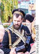 Купить «Unidentified members of historical reenactment battle», фото № 29626688, снято 6 октября 2018 г. (c) FotograFF / Фотобанк Лори