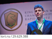 Купить «World Blitz Chess Vice Champion Jan-Krzysztof Duda, Poland», фото № 29629388, снято 30 декабря 2018 г. (c) Stockphoto / Фотобанк Лори
