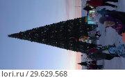 Купить «Новогодняя елка в городе Петропавловске-Камчатском, вечерний вид. Вертикальное видео», видеоролик № 29629568, снято 1 января 2019 г. (c) А. А. Пирагис / Фотобанк Лори