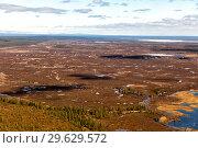 Купить «Impenetrable swamps in the north. Northern landscape. Boundless tundra. Helicopter view», фото № 29629572, снято 16 июня 2017 г. (c) Евгений Ткачёв / Фотобанк Лори