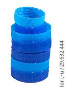 Купить «Синие крышки разного размера для пластиковых бутылок», фото № 29632444, снято 12 декабря 2018 г. (c) Румянцева Наталия / Фотобанк Лори
