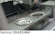 Купить «View at moving hi-speed spindle of dental milling machine», видеоролик № 29633464, снято 29 декабря 2018 г. (c) Andriy Bezuglov / Фотобанк Лори