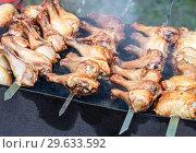 Купить «Grilled shish kebab or shashlik from chicken meat», фото № 29633592, снято 30 июня 2018 г. (c) FotograFF / Фотобанк Лори