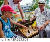 Купить «Дедушка и внук играют в шахматы на улице», фото № 29633808, снято 12 августа 2018 г. (c) Вячеслав Палес / Фотобанк Лори
