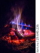 Купить «Close-up of a burning beautiful bonfire on a black night background, burning glowing logs,», фото № 29640236, снято 3 сентября 2018 г. (c) Акиньшин Владимир / Фотобанк Лори