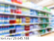 Купить «Abstract blur in supermarket as background», фото № 29645188, снято 9 августа 2018 г. (c) FotograFF / Фотобанк Лори