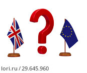 Купить «flag EU and Great Britain and red question on white background. Isolated 3D image», иллюстрация № 29645960 (c) Ильин Сергей / Фотобанк Лори