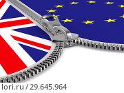 Купить «flag EU and Great Britain and zipper. 3D image», иллюстрация № 29645964 (c) Ильин Сергей / Фотобанк Лори