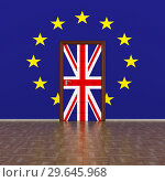 Купить «flag EU and Great Britain on wall and door. 3D image», иллюстрация № 29645968 (c) Ильин Сергей / Фотобанк Лори