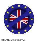 Купить «flag EU and Great Britain and sign forbidden on white background. Isolated 3D illustration», иллюстрация № 29645972 (c) Ильин Сергей / Фотобанк Лори