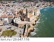 Купить «Aerial view of Sitges, Spain», фото № 29647116, снято 26 марта 2018 г. (c) Яков Филимонов / Фотобанк Лори
