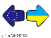Купить «flag EU and ukraine on white background. Isolated 3D illustration», иллюстрация № 29647436 (c) Ильин Сергей / Фотобанк Лори