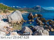 Large stones on the sea, beautiful seascape, Laspi bay, Crimea, Russia (2017 год). Стоковое фото, фотограф Константин Лабунский / Фотобанк Лори