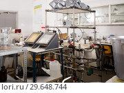 Купить «Chemical lab interior with lab equipment», фото № 29648744, снято 28 ноября 2018 г. (c) Яков Филимонов / Фотобанк Лори