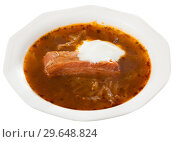 Купить «Shchi with pork in mushroom broth with sour cream», фото № 29648824, снято 27 июня 2019 г. (c) Яков Филимонов / Фотобанк Лори