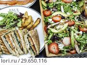 Купить «Florida, Fort Ft. Lauderdale, Sunrise, Sawgrass Mills Mall, Paul Paul Maison de Qualite Bakery, restaurant, inside, salmon sandwiches, display sale, salad,», фото № 29650116, снято 20 декабря 2018 г. (c) age Fotostock / Фотобанк Лори