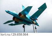 Купить «Russian fighter SU-27 as monument», фото № 29658064, снято 8 июля 2017 г. (c) FotograFF / Фотобанк Лори