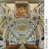 Купить «Вертикальная панорама интерьера церкви Бюргерзалькирхе в Мюнхене, Германия», фото № 29659344, снято 29 мая 2017 г. (c) Михаил Марковский / Фотобанк Лори