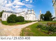 Купить «St. George (Yuriev) Orthodox Male Monastery in Veliky Novgorod, Russia», фото № 29659408, снято 17 августа 2017 г. (c) FotograFF / Фотобанк Лори