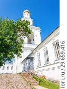 Купить «Bell tower of the St. George (Yuriev) Orthodox Male Monastery in Veliky Novgorod, Russia», фото № 29659416, снято 17 августа 2017 г. (c) FotograFF / Фотобанк Лори