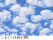Купить «Blue sky background with clouds.», фото № 29659508, снято 24 июня 2018 г. (c) Ирина Носова / Фотобанк Лори