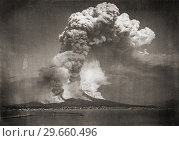 Купить «The eruption of Mount Vesuvius, Italy, in April 1872. After a photograph by German photographer Giorgio Sommer, 1834-1914.», фото № 29660496, снято 11 февраля 2015 г. (c) age Fotostock / Фотобанк Лори