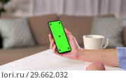 Купить «hand holding smartphone with green screen at home», видеоролик № 29662032, снято 21 августа 2019 г. (c) Syda Productions / Фотобанк Лори