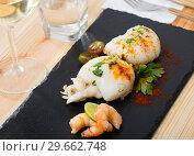 Купить «Two roasted cuttlefishes», фото № 29662748, снято 21 января 2019 г. (c) Яков Филимонов / Фотобанк Лори