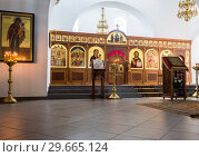 Купить «Interior of the Saviour Cathedral at the St. George (Yuriev) Orthodox Male Monastery in Veliky Novgorod, Russia», фото № 29665124, снято 17 августа 2017 г. (c) FotograFF / Фотобанк Лори