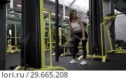 Купить «Beautiful Young Woman Athlete Doing Exercises», видеоролик № 29665208, снято 20 мая 2019 г. (c) Pavel Biryukov / Фотобанк Лори