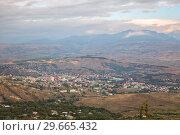 Купить «Aerial view of Akhaltsikhe, Georgia», фото № 29665432, снято 26 сентября 2018 г. (c) Юлия Бабкина / Фотобанк Лори