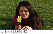 Купить «Woman Smelling Flower», видеоролик № 29666424, снято 26 февраля 2008 г. (c) Wavebreak Media / Фотобанк Лори