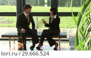 Купить «Two Businesspeople in Discussion», видеоролик № 29666524, снято 1 марта 2008 г. (c) Wavebreak Media / Фотобанк Лори