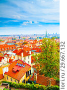 Panoramic vew of Prague (2009 год). Стоковое фото, фотограф Роман Сигаев / Фотобанк Лори