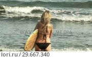 Купить «Woman with Surfboard», видеоролик № 29667340, снято 23 января 2019 г. (c) Wavebreak Media / Фотобанк Лори