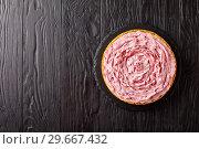 Купить «raspberry cheesecake on a black stone tray», фото № 29667432, снято 30 декабря 2018 г. (c) Oksana Zh / Фотобанк Лори