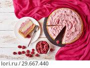Купить «white chocolate and raspberry cheesecake, top view», фото № 29667440, снято 30 декабря 2018 г. (c) Oksana Zh / Фотобанк Лори