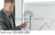 Купить «CEO in a business meeting explaining with a blackboard», видеоролик № 29668280, снято 29 марта 2009 г. (c) Wavebreak Media / Фотобанк Лори