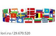 Купить «Flags around the world turning», видеоролик № 29670520, снято 18 января 2019 г. (c) Wavebreak Media / Фотобанк Лори