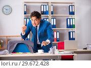 Купить «Employee stealing important information in industrial espionage», фото № 29672428, снято 10 августа 2018 г. (c) Elnur / Фотобанк Лори