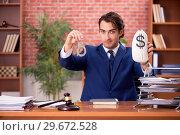 Купить «Young handsome lawyer working in his office», фото № 29672528, снято 10 сентября 2018 г. (c) Elnur / Фотобанк Лори