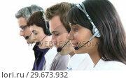 Купить «Multiethnic business team working in a call-center», видеоролик № 29673932, снято 16 июля 2020 г. (c) Wavebreak Media / Фотобанк Лори