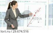 Купить «Competitive businesswoman reporting statistics», видеоролик № 29674516, снято 17 февраля 2020 г. (c) Wavebreak Media / Фотобанк Лори
