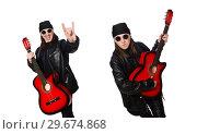 Купить «Young guitar player isolated on the white», фото № 29674868, снято 17 марта 2015 г. (c) Elnur / Фотобанк Лори