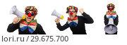 Купить «The clown with loudspeaker isolated on white», фото № 29675700, снято 22 января 2015 г. (c) Elnur / Фотобанк Лори
