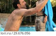 Купить «Father drying his son with a towel», видеоролик № 29676056, снято 7 ноября 2010 г. (c) Wavebreak Media / Фотобанк Лори