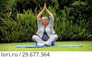 Купить «Greyhaired woman practising oriental exercises in garden », видеоролик № 29677364, снято 6 ноября 2010 г. (c) Wavebreak Media / Фотобанк Лори